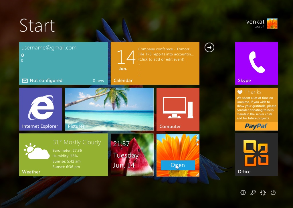 تجربه کار با استارت اسکرین ویندوز 8 در ویندوز 7