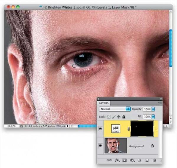 Как сделать глаз белым в фотошопе
