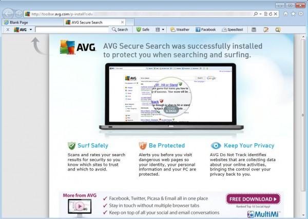 آموزش حذف نوار ابزار AVG Security