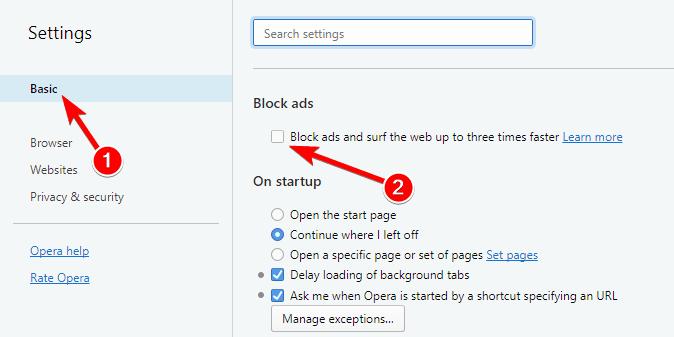 Block ads اپرا
