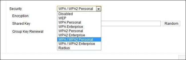 Enabled WPA Security