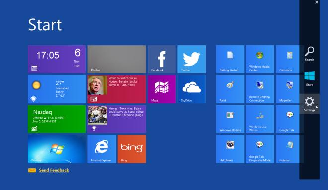 دستیابی به صفحه شروع ویندوز 8 و نوار Charms در ویندوز 7