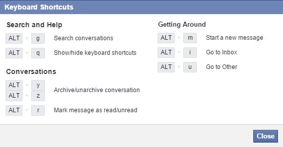 کلیدهای میانبر فیسبوک