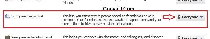 پنهان کردن لیست دوستان در فیسبوک