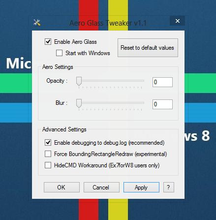 سفارشی سازی تاری و تیرگی جلوه Aero Glass در ویندوز 8 با AGTweaker