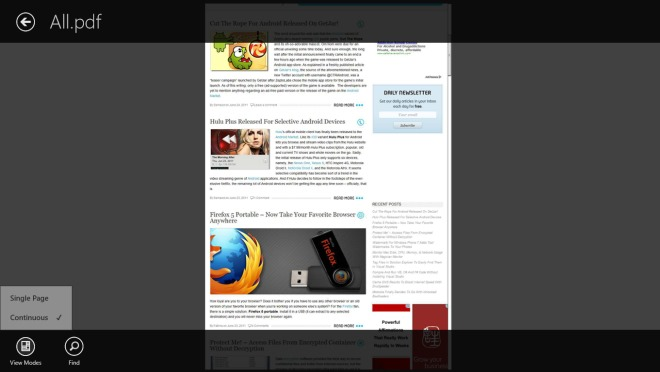 Adobe Reader_Windows 8_Continuous View