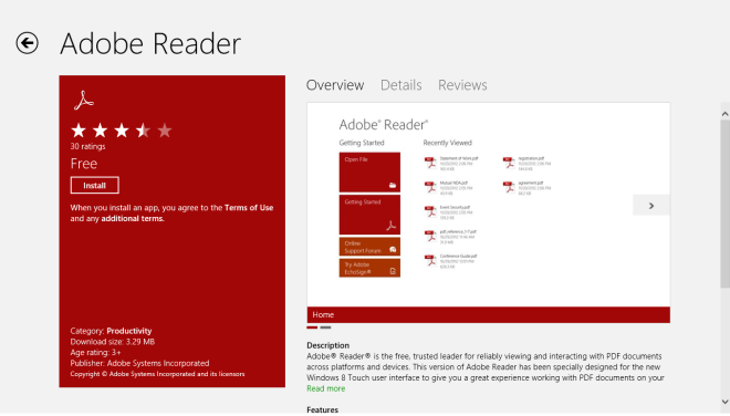Adobe Reader_Windows Store