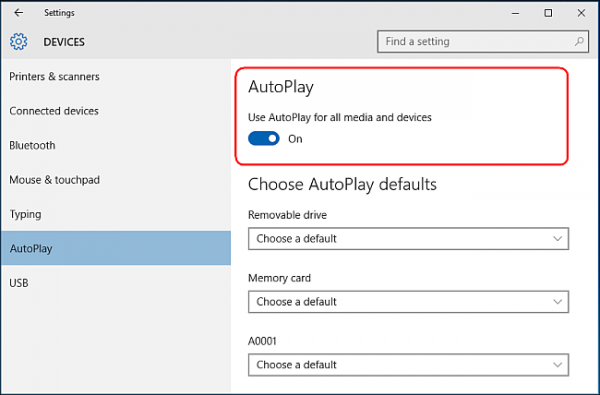 Enabling and disabling AutoPlay settings