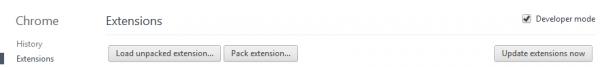 صفحه مربوط به افزونه ها در گوگل کروم