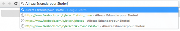 جعبه جستجو در گوگل کروم