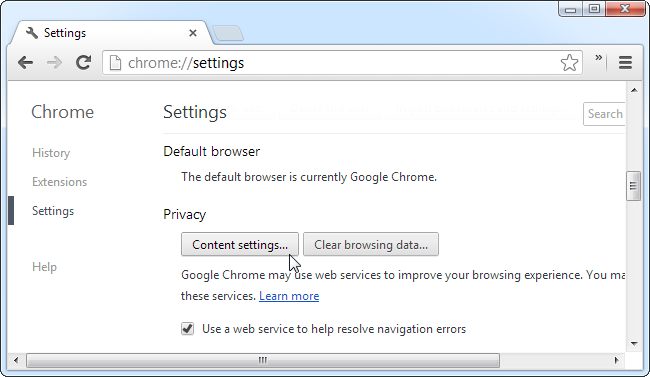 Chrome-Content Settings Button