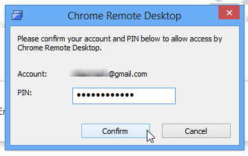 Chrome Remote Desktop_PIN Confirm