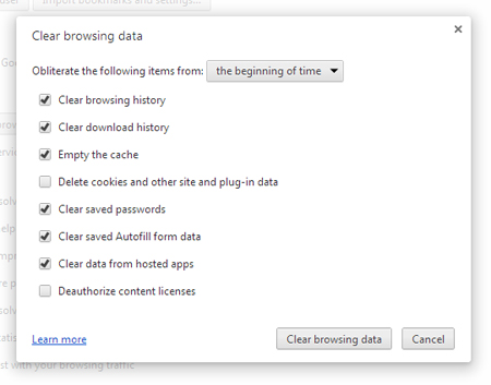 Delete Cache and Browsing History
