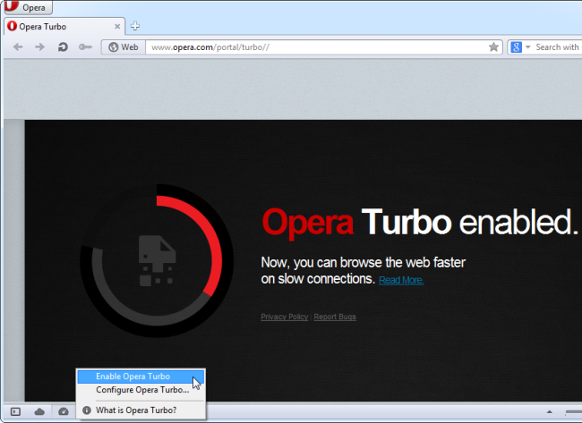Enable Opera Turbo