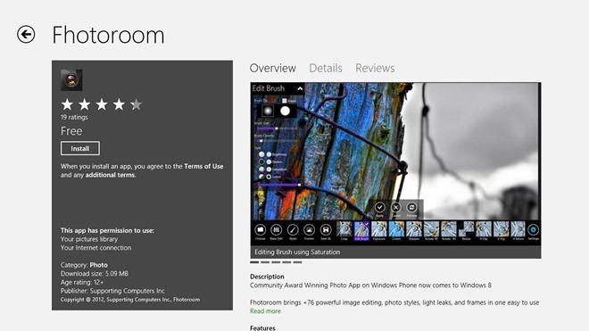 Fhotoroom یک برنامه طراحی و ویرایشگر تصویری فراگیر و خوش ترکیب برای ویندوز 8 است