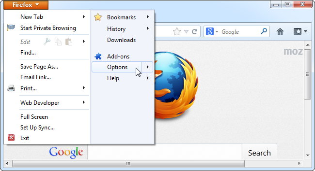 Firefox-Options In Menu