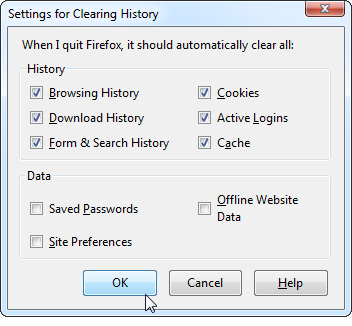 Firefox-Settings For Clearing History