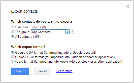 Gmail-Export-Options