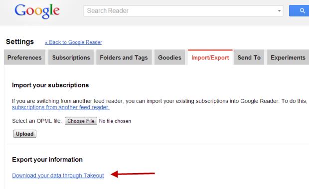 Google Reader- Import&Export tab