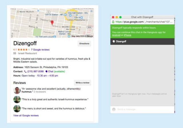 آزمایش گفتگوی زنده گوگل با مشاغل جستجو شده