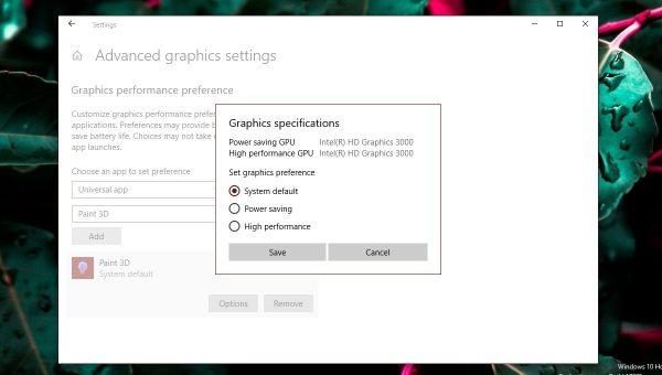 تنظیم توان گرافیک برای هر اپلیکیشن