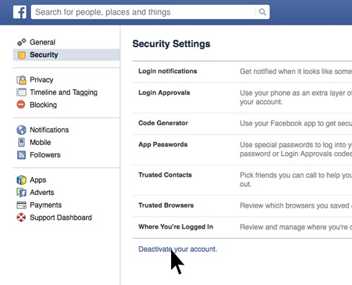 how to close down facebook account permanently