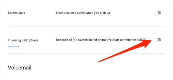 Incoming Call Options