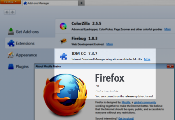 Internet Download Manager in Firefox 7
