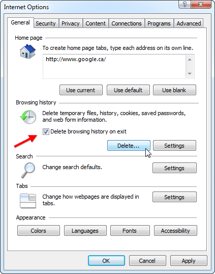Internet Explorer-Delete Browsing History On Exit