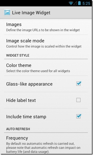 Live Image Widget-Android-Configure