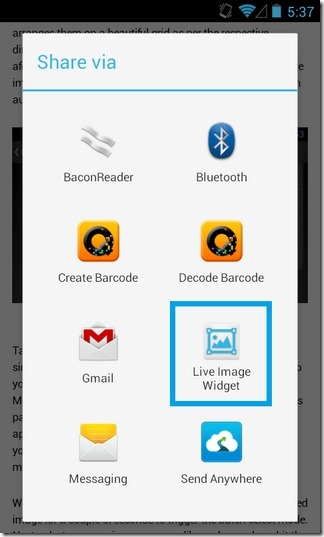 Live Image Widget-Android-Share2