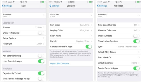 Mail, Contacts & Calendar Settings Are Now Separate