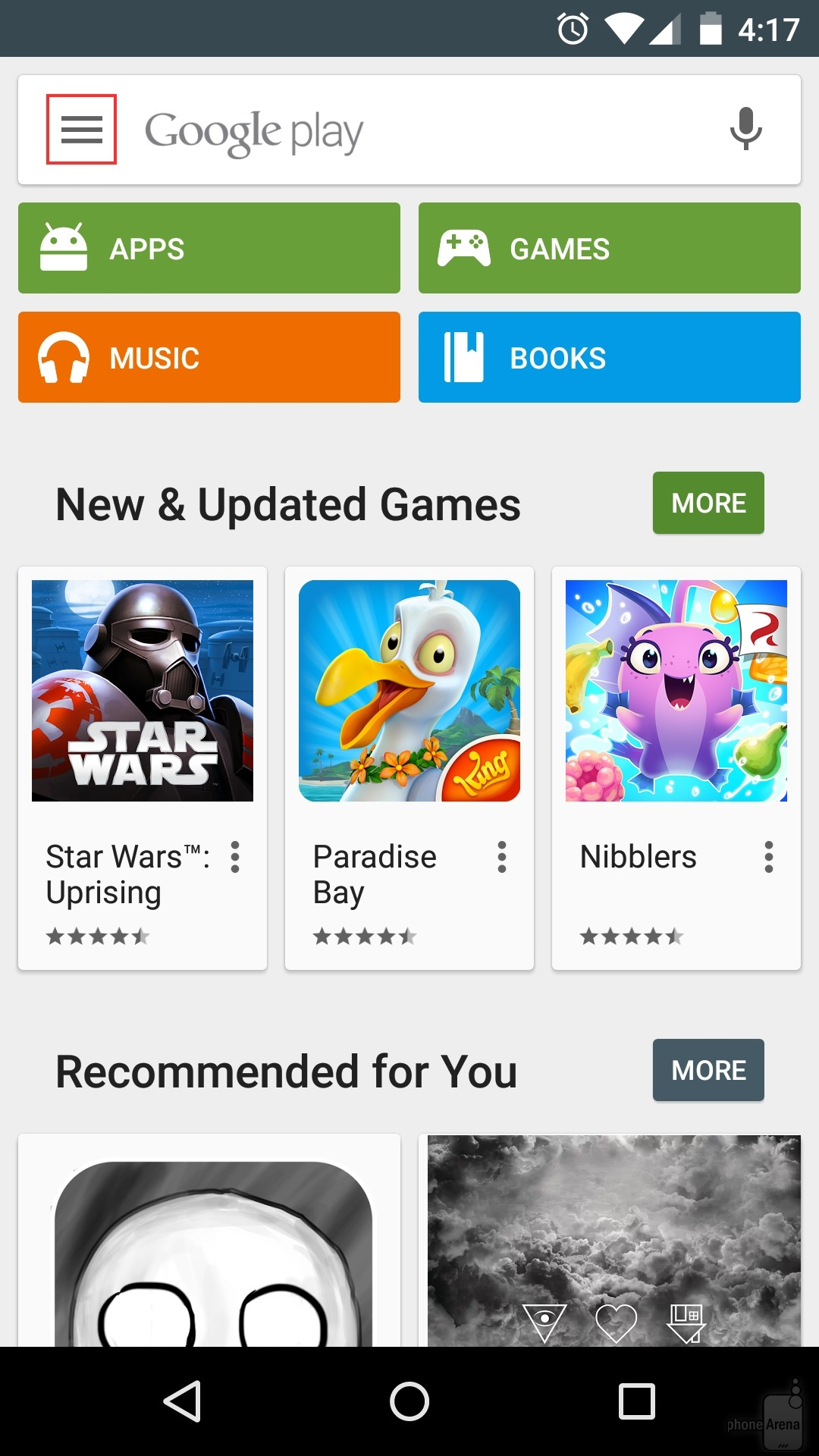 On-the-Play-Store-home-screen-the-menu-button-is-always-located-in-the-upper-left-corner.