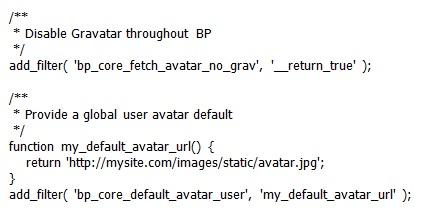 Override Default BuddyPress Avatars