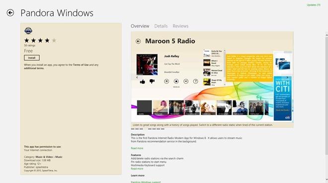 پاندورا ویندوز، دریافت و پخش رادیو آنلاین پاندورا را برای ویندوز 8 به ارمغان می آورد