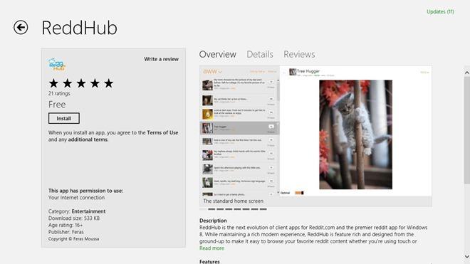 ReddHub برنامه Reddit ویندوز 8 با مرورگری دو تکه و راحت