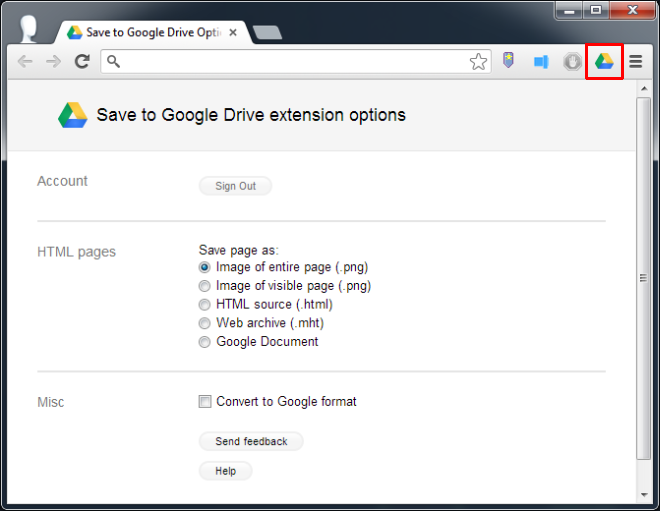 Save to Google Drive-Options