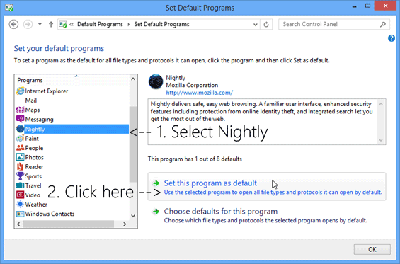 Set_Firefox_Nightly_as_Default_Browser