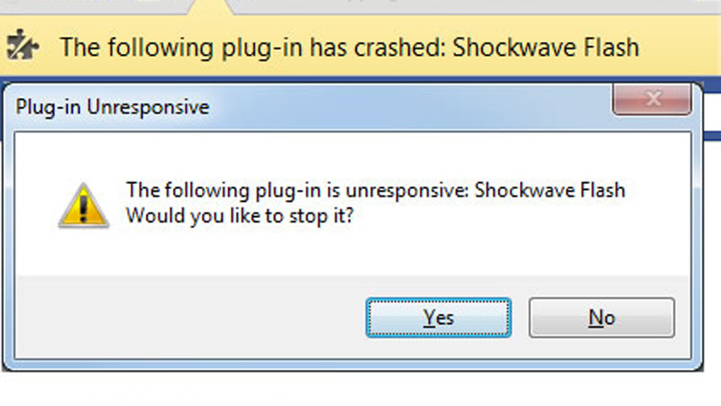 رهایی از خطای The following plug-in has crashed Shockwave Flash