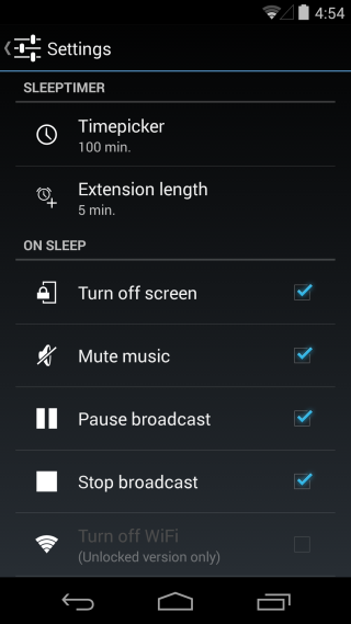 Sleep-Timer-settings