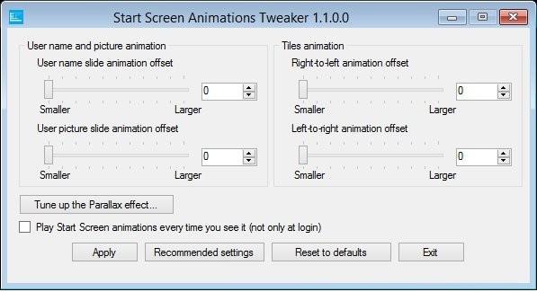 Start Screen Animations Tweaker