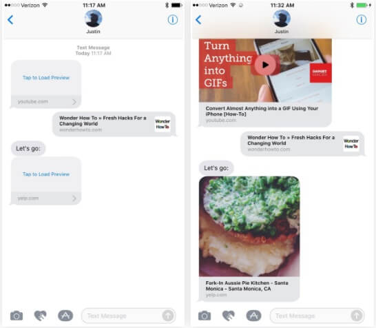 There's Previews for YouTube, Yelp, Webpages & More in Messages