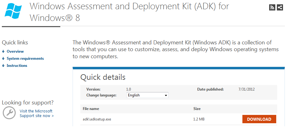 Windows Assessment and Deployment Kit (ADK) for