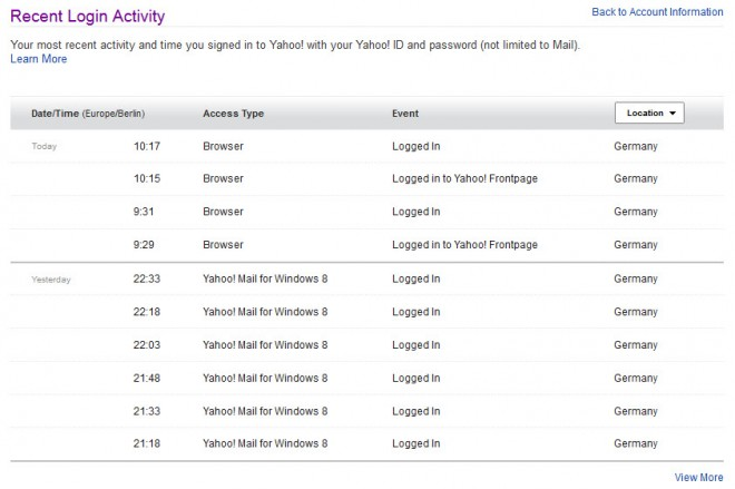 Yahoo Recent Account Security