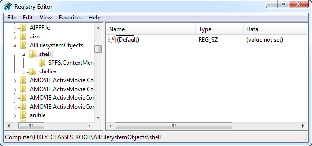 AllFilesystemObjects-Shell key In Registry