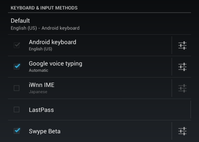 android keyboards and nput methods