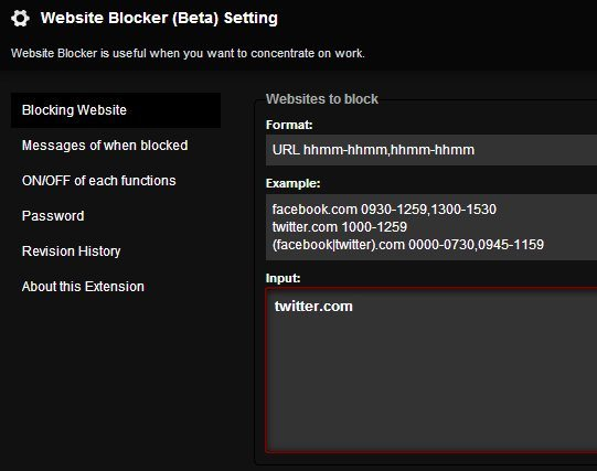 block-websites-chrome-extension-settings