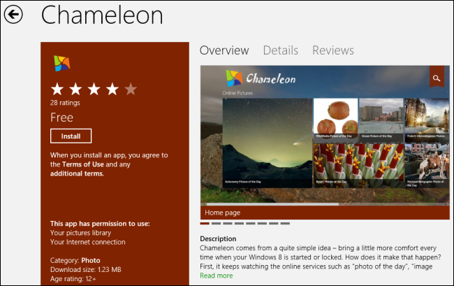 Chameleon App-Windows 8