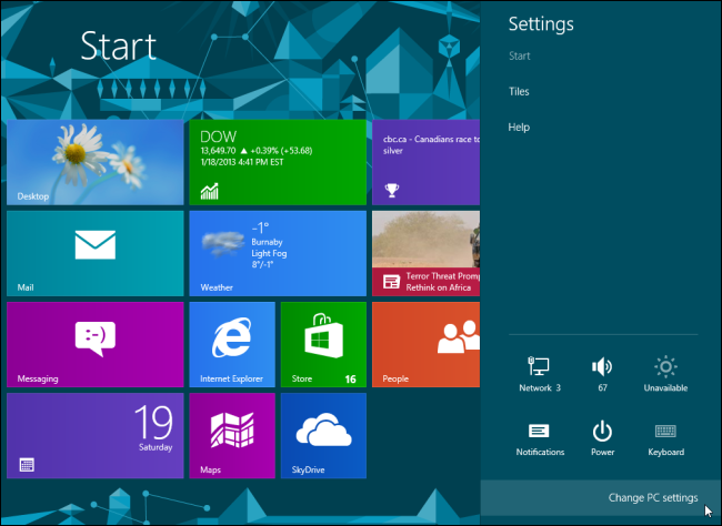Windows 8-Change PC Settings