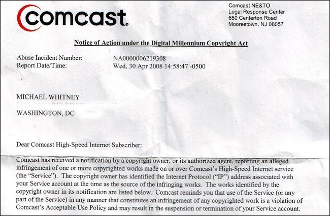 Comcast-DMCA Letter